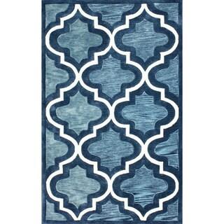 nuLOOM Hand-tufted Abrash Moroccan Trellis Blue Rug (8'6 x 11'6)