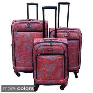 Kemyer Paisley 3-piece Expandable Spinner Luggage Set
