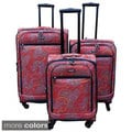 Kemyer Paisley 3-piece Expandable Spinner Luggage Set