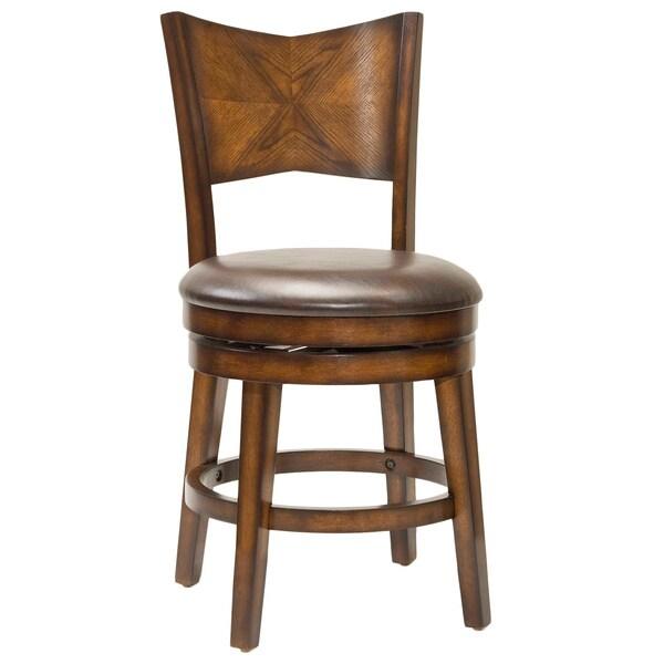 Jenkins Rustic Oak Swivel Stool 16000432 Overstock
