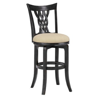 'Embassy' Rubbed Black Lace-woven Back Stool