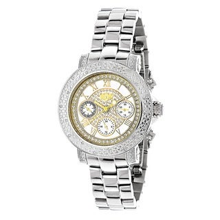 Luxurman Women's 1/3ct TDW Diamond Two-tone Watch with Metal Band and Extra Leather Straps