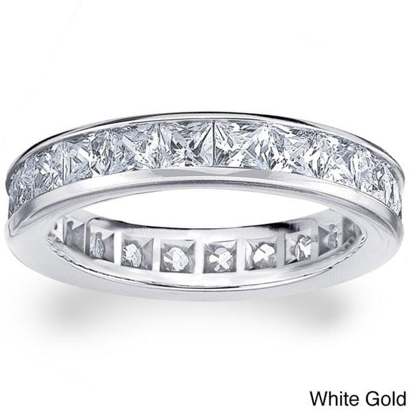14k White or Yellow Gold 3ct TDW Machine-set Princess Eternity Diamond Wedding Band (H-I/SI1-SI2)