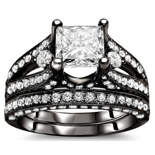 Noori 18k Black Gold 3 1/10ct Princess Diamond Bridal Set (G-H, SI1-SI2)
