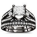18k Black Gold 3 1/10ct Princess Diamond Bridal Set (G-H, SI1-SI2)