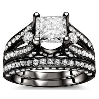 18k Black Gold 3 1/10ct Certified Princess Diamond Bridal Set (G-H, SI1-SI2)