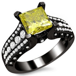 18k Black Gold 2 1/6ct Certified Canary Yellow Princess-cut Diamond Ring (SI1-SI2)