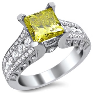 Noori 18k White Gold 2 ct Certified Canary Yellow Princess-cut Round Diamond Ring (F-G, SI1-SI2)