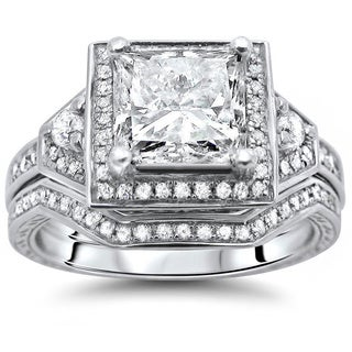 14k White Gold 1 2/5ct Princess-cut Diamond Bridal Set (G-H, SI1-SI2)