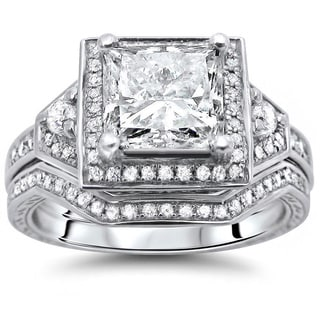 14k White Gold 1 3/5ct Certified Princess-cut Diamond Bridal Set (G-H, SI1-SI2)