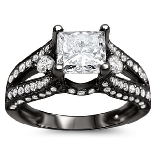18k Black Gold 2 1/3ct TDW Certified Princess Cut Enhanced Diamond Engagement Ring (G-H, SI1-SI2)