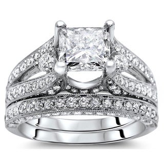 18k White Gold 3 1/10ct Certified Princess Diamond Bridal Set (G-H, SI1-SI2)