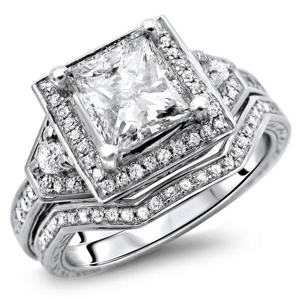Noori 14k White Gold 1 2/5ct TDW Certified Princess Cut Halo Enhanced Diamond Bridal Set (G-H, SI1-S