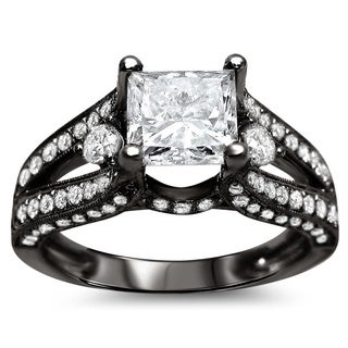 18k Black Gold 2 1/3ct TDW Princess Cut Diamond Engagement Ring (G-H, SI1-SI2)