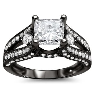 18k Black Gold 2 1/3ct TDW Certified Princess Cut Diamond Engagement Ring (G-H, SI1-SI2)