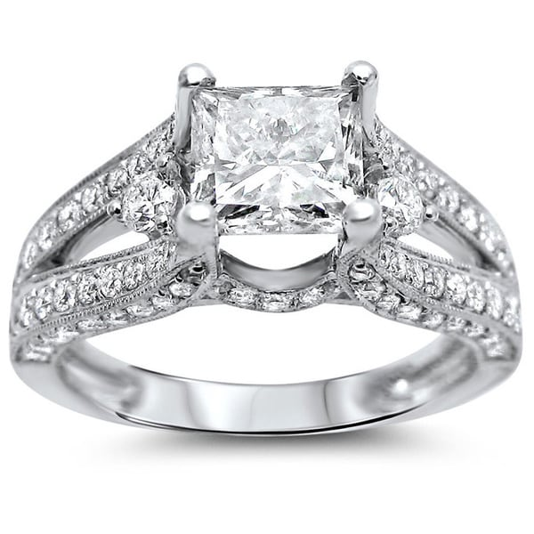 18k white gold 2 1 3ct tdw certified enhanced princess