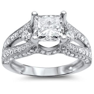 Noori 18k White Gold 2 ct TDW Certified Enhanced Princess Diamond Engagement Ring (G-H, SI1-SI2)