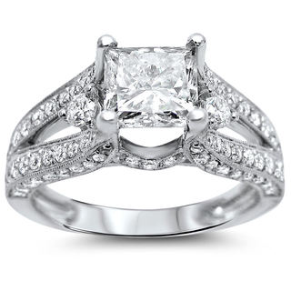 18k White Gold 2 1/3ct TDW Certified Enhanced Princess Diamond Engagement Ring (G-H, SI1-SI2)