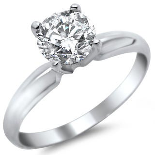 14k White Gold 1/2ct TDW Certified Round Solitaire Diamond Engagement Ring (G-H, SI1-SI2)