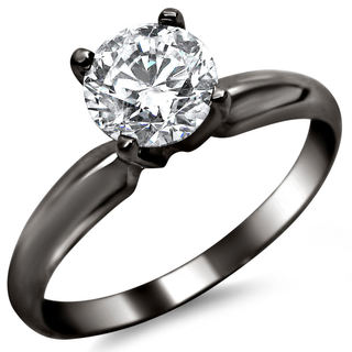 14k Black Gold 1/2ct TDW Certified Round Solitaire Diamond Engagement Ring (G-H, SI1-SI2)