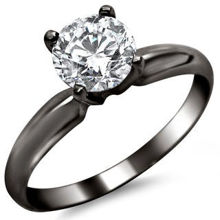 14k Black Gold 1/2ct TDW Round Solitaire Diamond Engagement Ring (G-H, SI1-SI2)