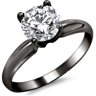 14k Black Gold 3/4ct TDW Certified Round Solitaire Diamond Engagement Ring (G-H, SI1-SI2)