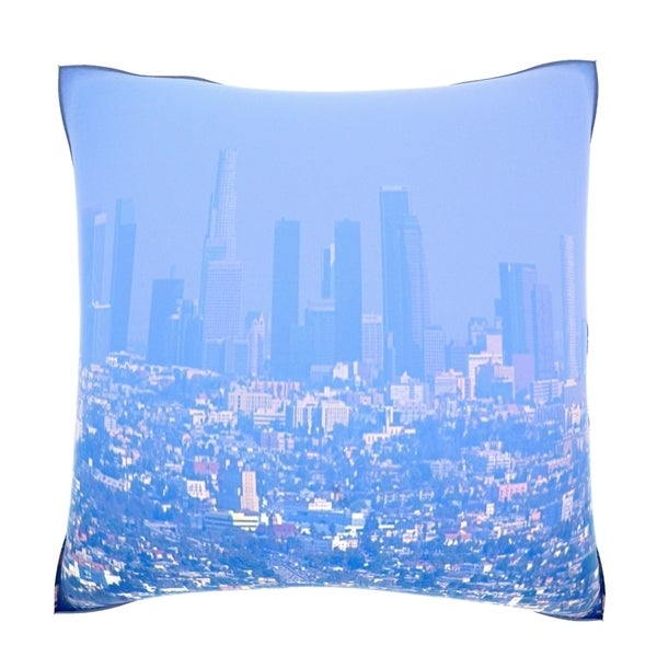 Haze Covers the Skyline of Downtown Los Angeles, CA 18-inch Velour Throw Pillow