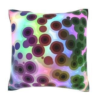 Retro Circles Pattern 18-inch Square Velour Throw Pillow