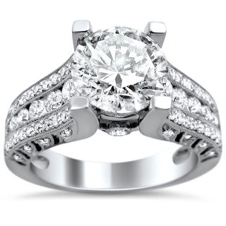18k White Gold 2 1/10ct TDW Certified Enhanced Diamond Engagement Ring (G-H, SI1-SI2)