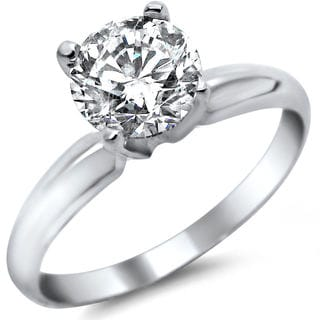 14k White Gold 3/4ct Certified Round Solitaire Diamond Engagement Ring (G-H, SI1-SI2)