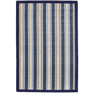 Shore Blue Stripe Bamboo Rug (5' x 8')