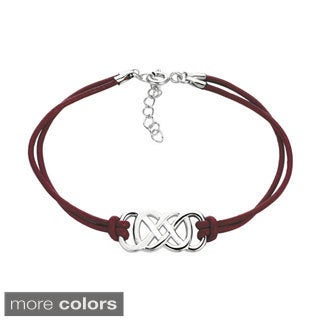 .925 Sterling Silver Double Infinity Leather Cord Bracelet