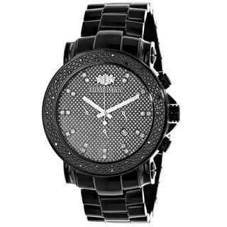 Luxurman Men's Oversized 0.25ct Black Diamond Watch