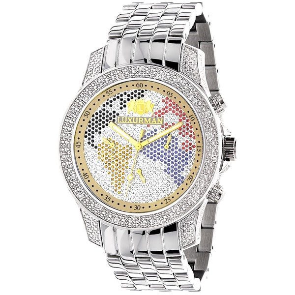 Luxurman Men's World Map 1/2ct Diamond Limited Edition Watch