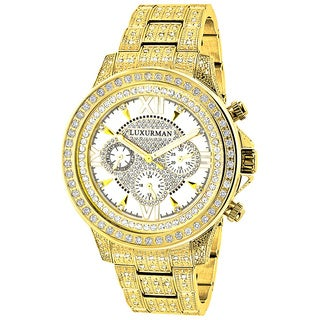 Luxurman Men's Yellow Gold-plated 3ct White Diamond Watch with Metal Band and Extra Leather Straps