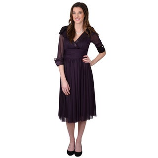 Jessica Howard Women's Chiffon Sleeve Lapel Dress