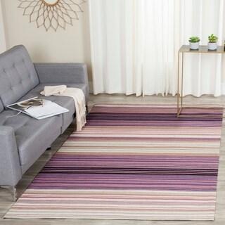 Safavieh Hand-woven Marbella White/ Lilac Wool Rug (5' x 8')