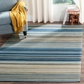 Safavieh Hand-woven Marbella Cream/ Blue/ Black Wool Rug (6' x 9')