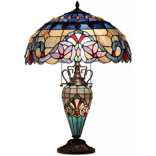 Tiffany Style Victorian Motif Double-lit Table Lamp