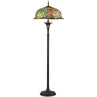 Tiffany Style 3-light Floral Design Art Glass Floor Lamp