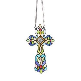 Tiffany Style Cross Shaped Window Panel