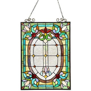 Tiffany Style Victorian Floral Window Panel