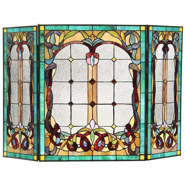 Chloe Tiffany-style Victorian Design Fireplace Screen 12392746