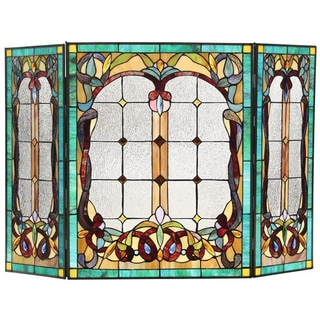 Tiffany Style Victorian Design Decorative Fireplace Screen