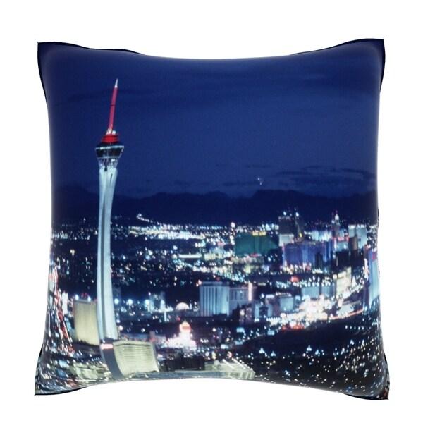 Las Vegas by Night 18-inch Square Velour Throw Pillow