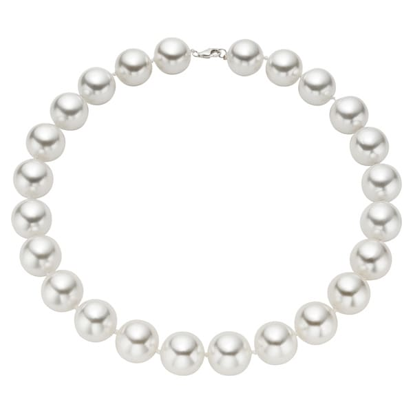 Pearlyta Sterling Silver White Shell Pearl Strand Necklace (16mm)