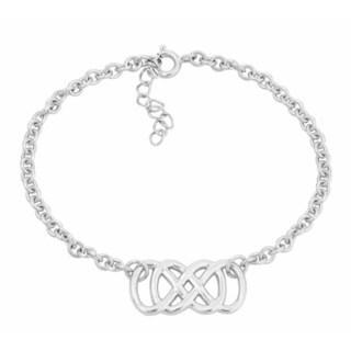 .925 Sterling Silver Double Infinity Rolo Chain Bracelet