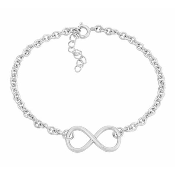 .925 Sterling Silver Infinity Rolo Chain Bracelet