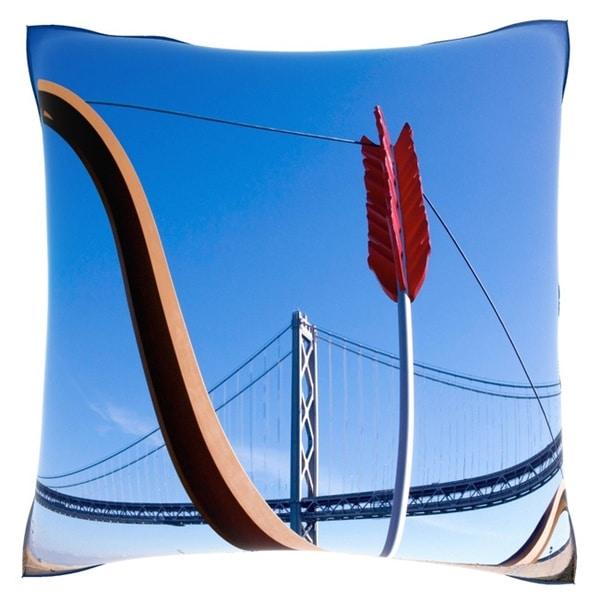 Cupid's Span on The Embarcadero in San Francisco 18-inch Velour Throw Pillow