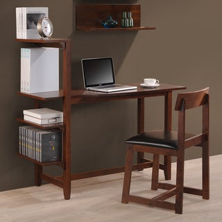 Hamburg Contemporary 4-tier Bookshelf, Desk, and Faux Leather Desk Chair Study Set